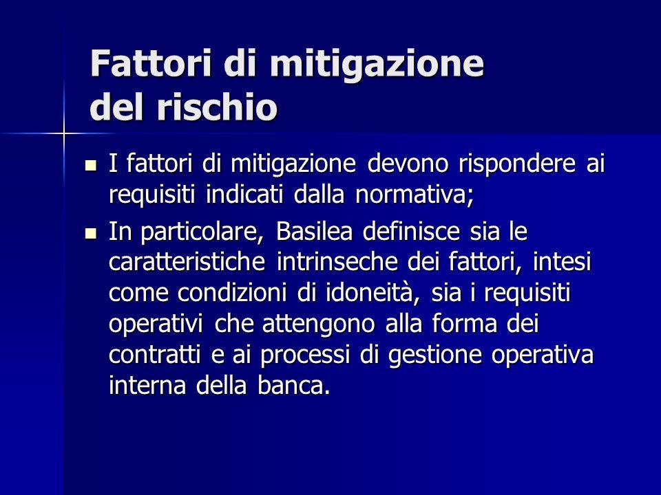 I fattori di mitigazione devono rispondere ai requisiti indicati dalla normativa; I fattori di mitigazione devono rispondere ai requisiti indicati dal