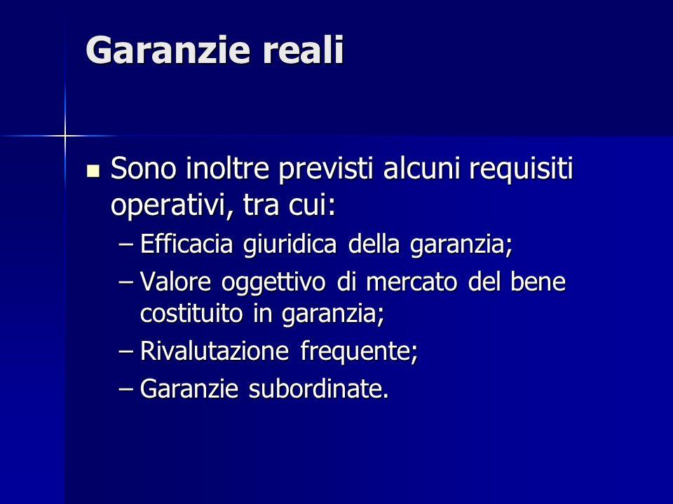 Garanzie reali Sono inoltre previsti alcuni requisiti operativi, tra cui: Sono inoltre previsti alcuni requisiti operativi, tra cui: –Efficacia giurid