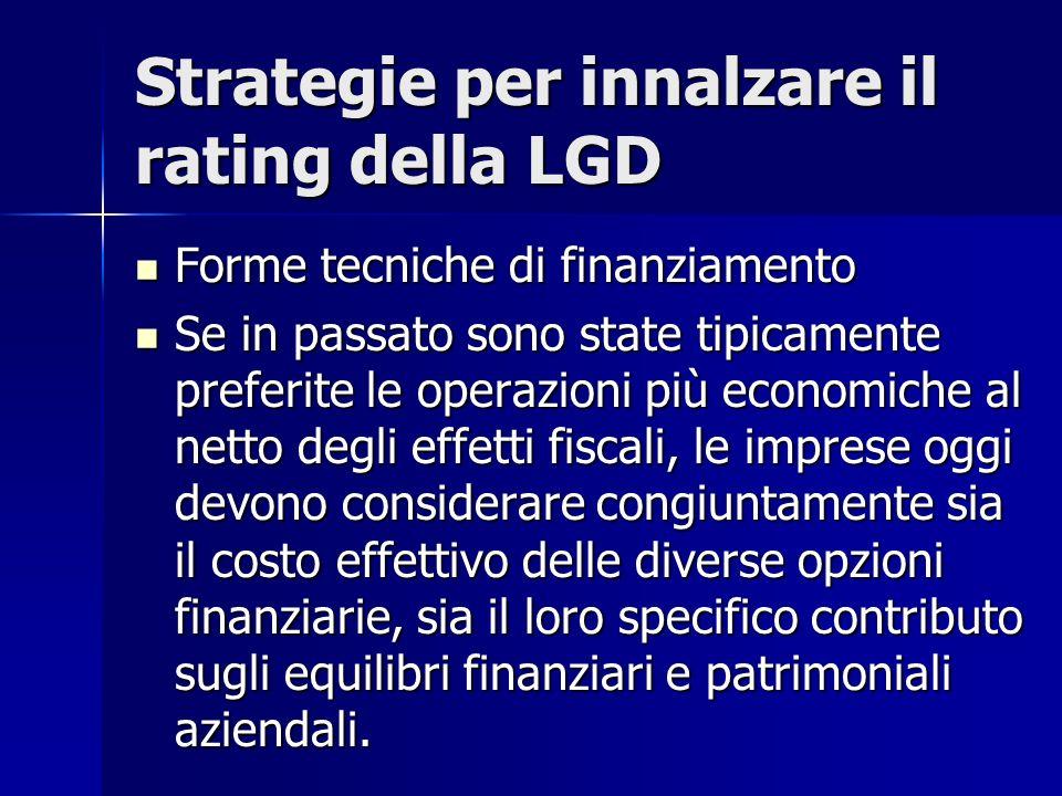 Strategie per innalzare il rating della LGD Forme tecniche di finanziamento Forme tecniche di finanziamento Se in passato sono state tipicamente prefe