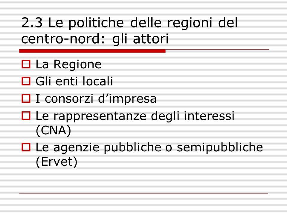 2.3 Le politiche delle regioni del centro-nord: gli attori La Regione Gli enti locali I consorzi dimpresa Le rappresentanze degli interessi (CNA) Le agenzie pubbliche o semipubbliche (Ervet)