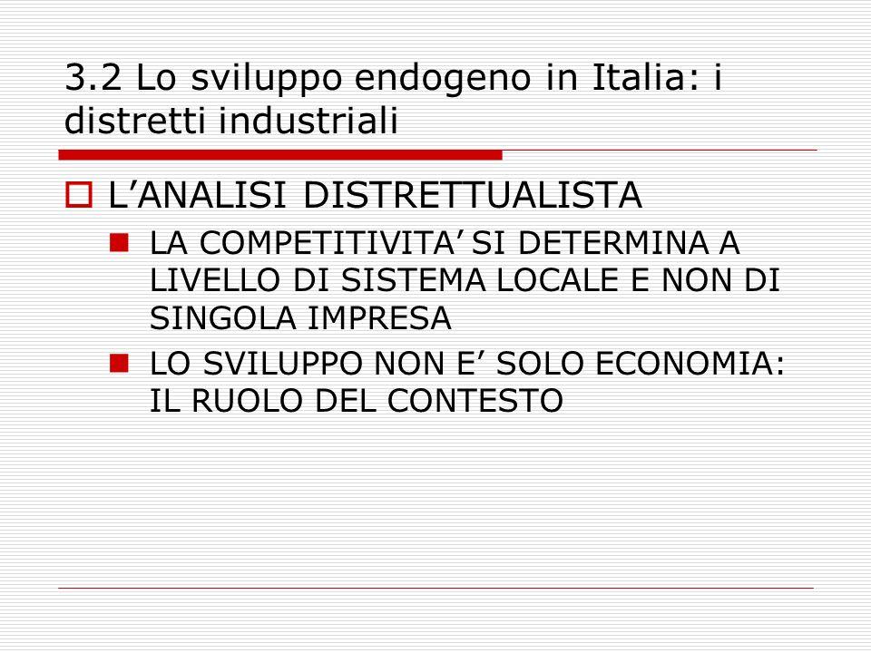 3.2 Lo sviluppo endogeno in Italia: i distretti industriali LANALISI DISTRETTUALISTA LA COMPETITIVITA SI DETERMINA A LIVELLO DI SISTEMA LOCALE E NON DI SINGOLA IMPRESA LO SVILUPPO NON E SOLO ECONOMIA: IL RUOLO DEL CONTESTO