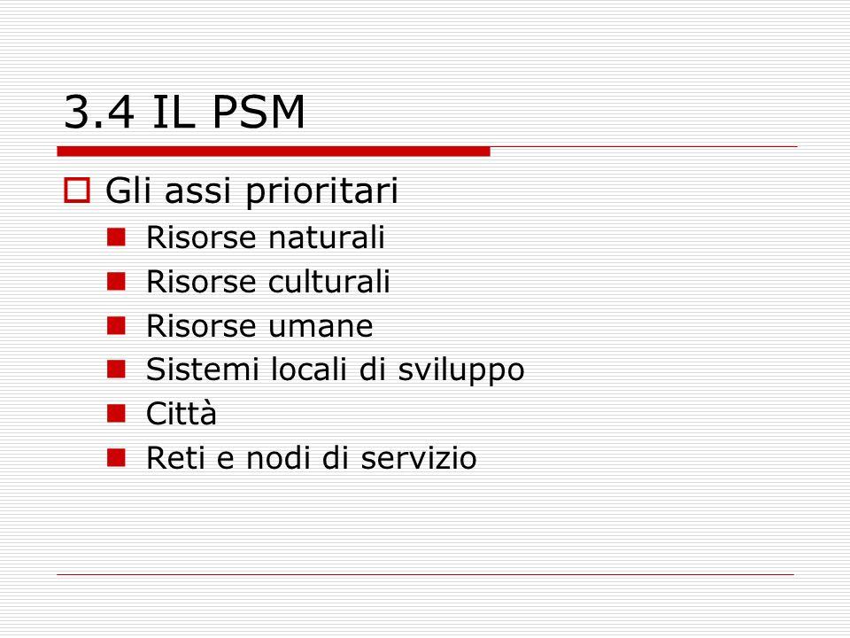 3.4 IL PSM Gli assi prioritari Risorse naturali Risorse culturali Risorse umane Sistemi locali di sviluppo Città Reti e nodi di servizio