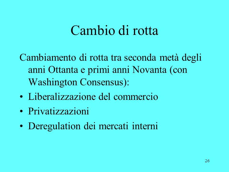 26 Cambio di rotta Cambiamento di rotta tra seconda metà degli anni Ottanta e primi anni Novanta (con Washington Consensus): Liberalizzazione del commercio Privatizzazioni Deregulation dei mercati interni