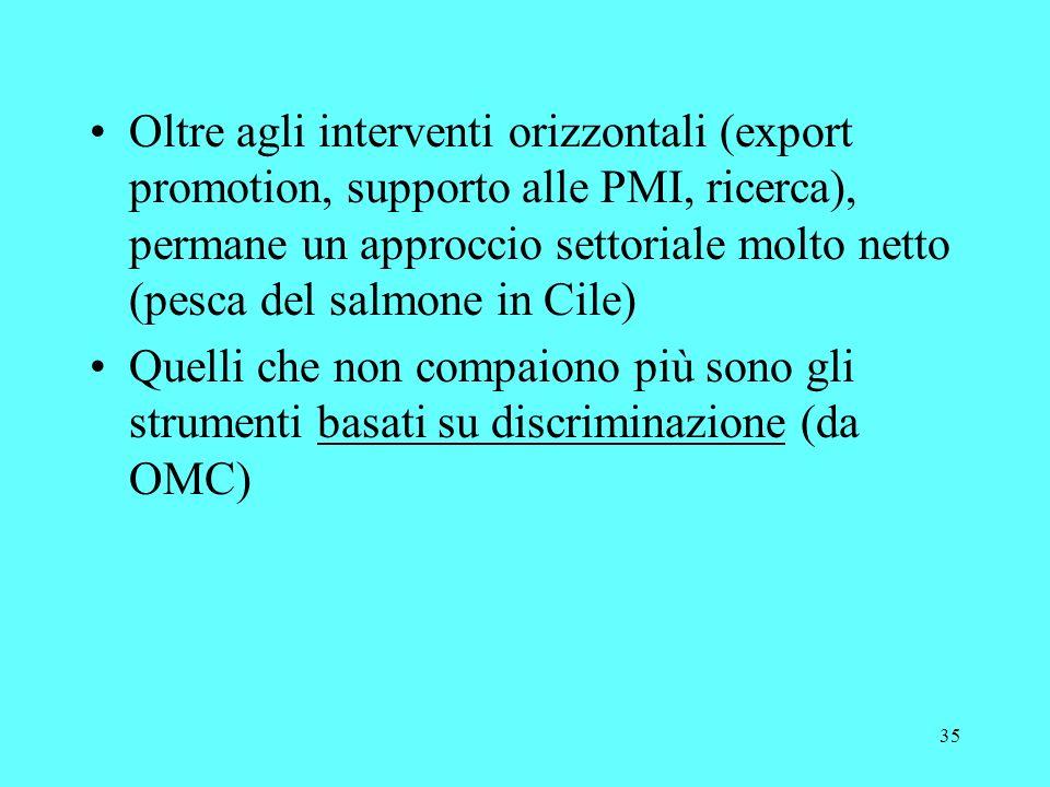 35 Oltre agli interventi orizzontali (export promotion, supporto alle PMI, ricerca), permane un approccio settoriale molto netto (pesca del salmone in Cile) Quelli che non compaiono più sono gli strumenti basati su discriminazione (da OMC)