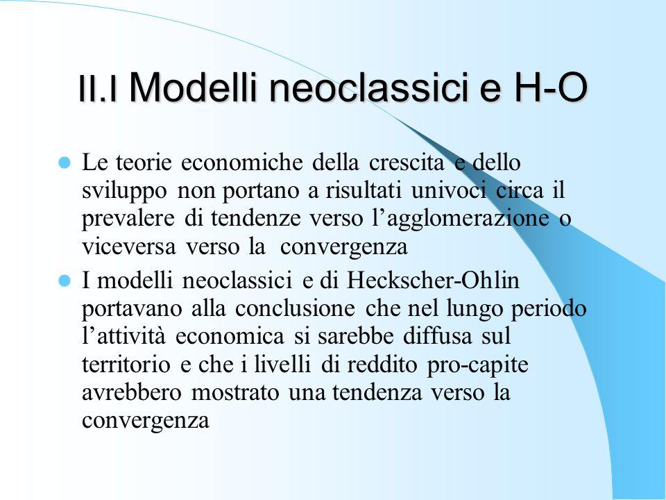 II.I Modelli neoclassici e H-O Le teorie economiche della crescita e dello sviluppo non portano a risultati univoci circa il prevalere di tendenze ver