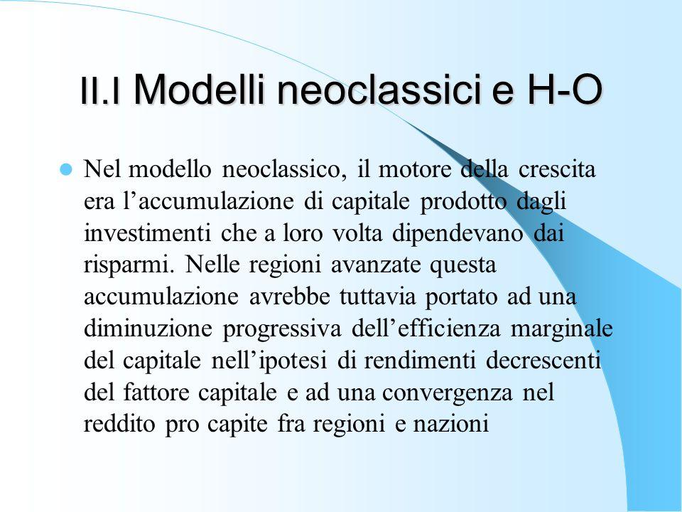 II.I Modelli neoclassici e H-O Nel modello neoclassico, il motore della crescita era laccumulazione di capitale prodotto dagli investimenti che a loro