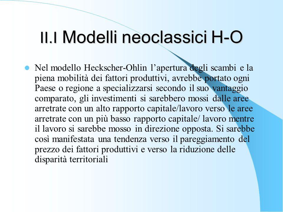 II.I Modelli neoclassici H-O Nel modello Heckscher-Ohlin lapertura degli scambi e la piena mobilità dei fattori produttivi, avrebbe portato ogni Paese
