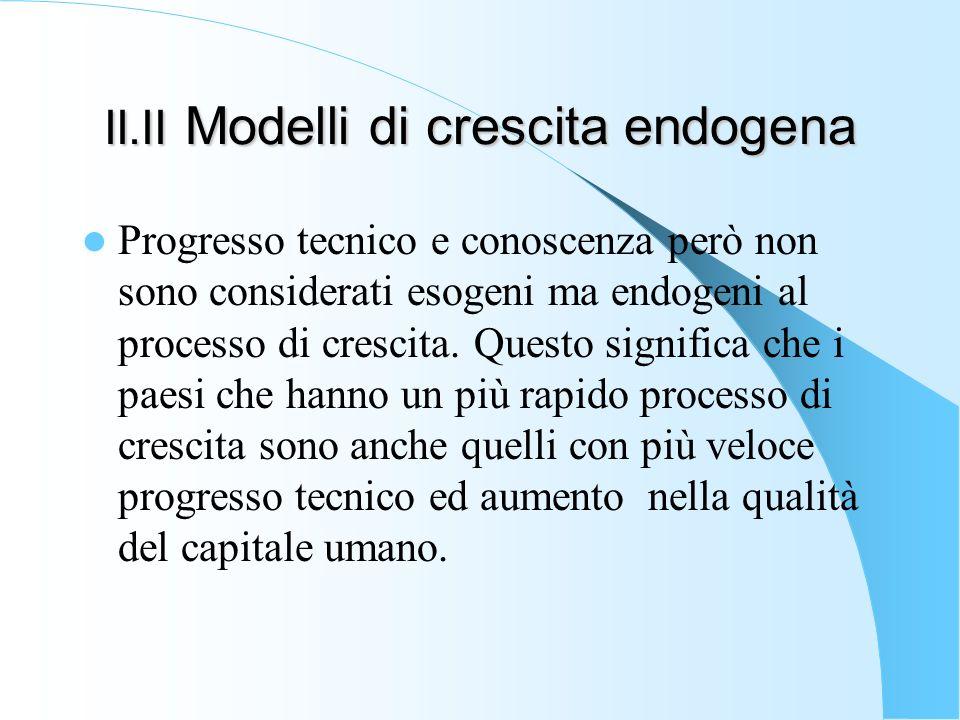 II.II Modelli di crescita endogena Progresso tecnico e conoscenza però non sono considerati esogeni ma endogeni al processo di crescita. Questo signif