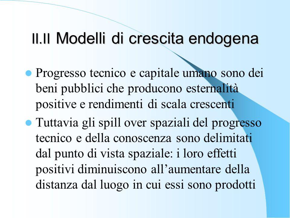II.II Modelli di crescita endogena Progresso tecnico e capitale umano sono dei beni pubblici che producono esternalità positive e rendimenti di scala