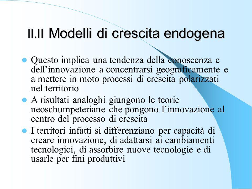II.II Modelli di crescita endogena Questo implica una tendenza della conoscenza e dellinnovazione a concentrarsi geograficamente e a mettere in moto p