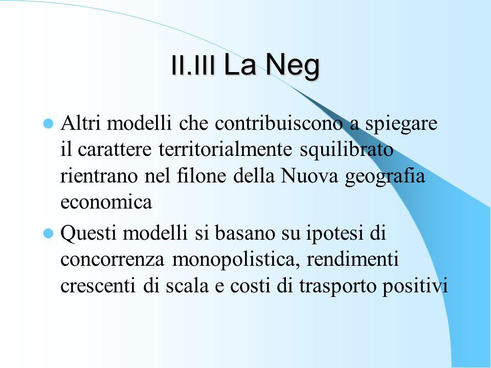 II.III La Neg Altri modelli che contribuiscono a spiegare il carattere territorialmente squilibrato rientrano nel filone della Nuova geografia economi