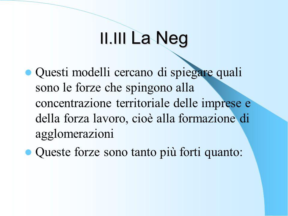 II.III La Neg Questi modelli cercano di spiegare quali sono le forze che spingono alla concentrazione territoriale delle imprese e della forza lavoro,