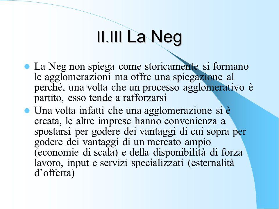 II.III La Neg La Neg non spiega come storicamente si formano le agglomerazioni ma offre una spiegazione al perché, una volta che un processo agglomera
