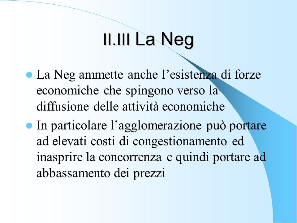 II.III La Neg La Neg ammette anche lesistenza di forze economiche che spingono verso la diffusione delle attività economiche In particolare lagglomera