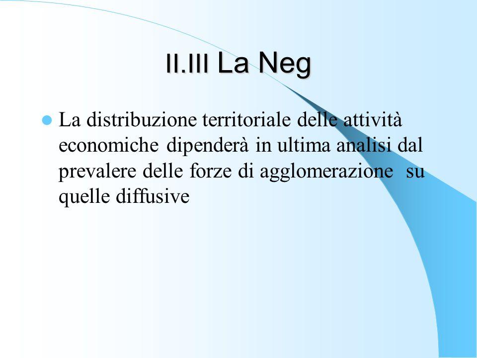 II.III La Neg La distribuzione territoriale delle attività economiche dipenderà in ultima analisi dal prevalere delle forze di agglomerazione su quell