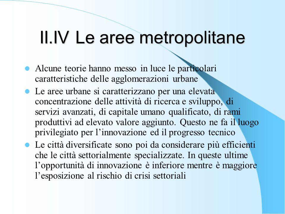 II.IV Le aree metropolitane Alcune teorie hanno messo in luce le particolari caratteristiche delle agglomerazioni urbane Le aree urbane si caratterizz