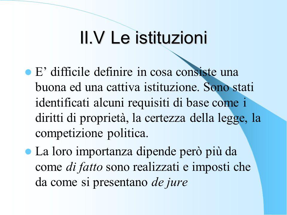 II.V Le istituzioni E difficile definire in cosa consiste una buona ed una cattiva istituzione. Sono stati identificati alcuni requisiti di base come