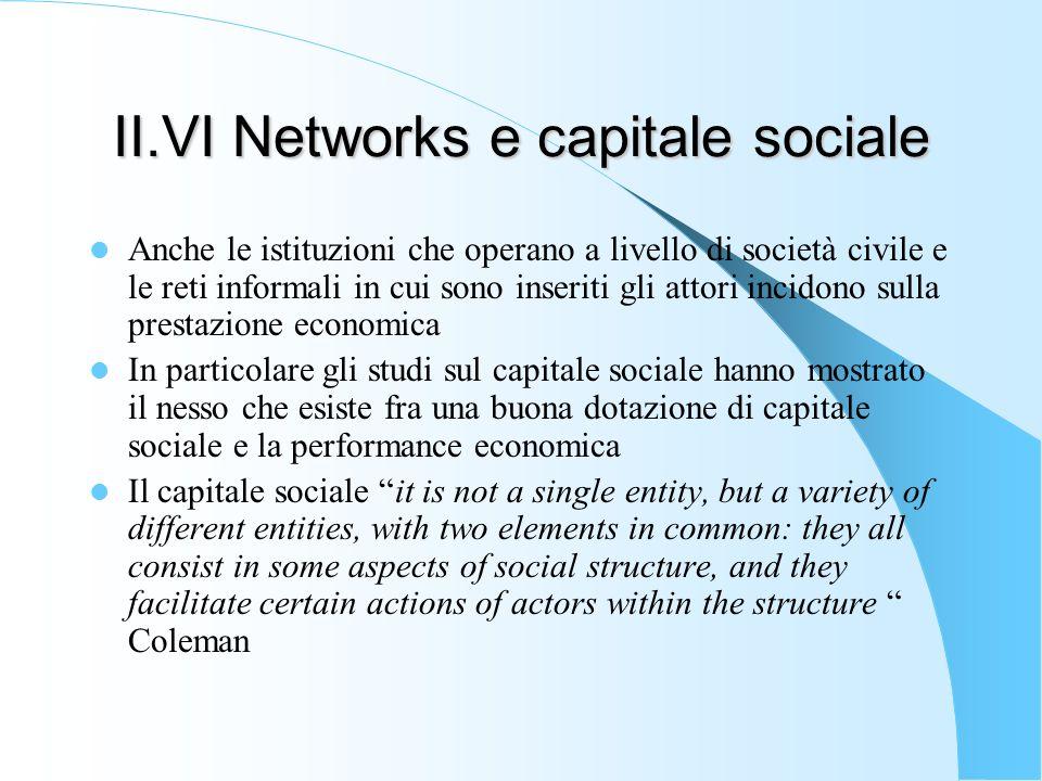 II.VI Networks e capitale sociale Anche le istituzioni che operano a livello di società civile e le reti informali in cui sono inseriti gli attori inc