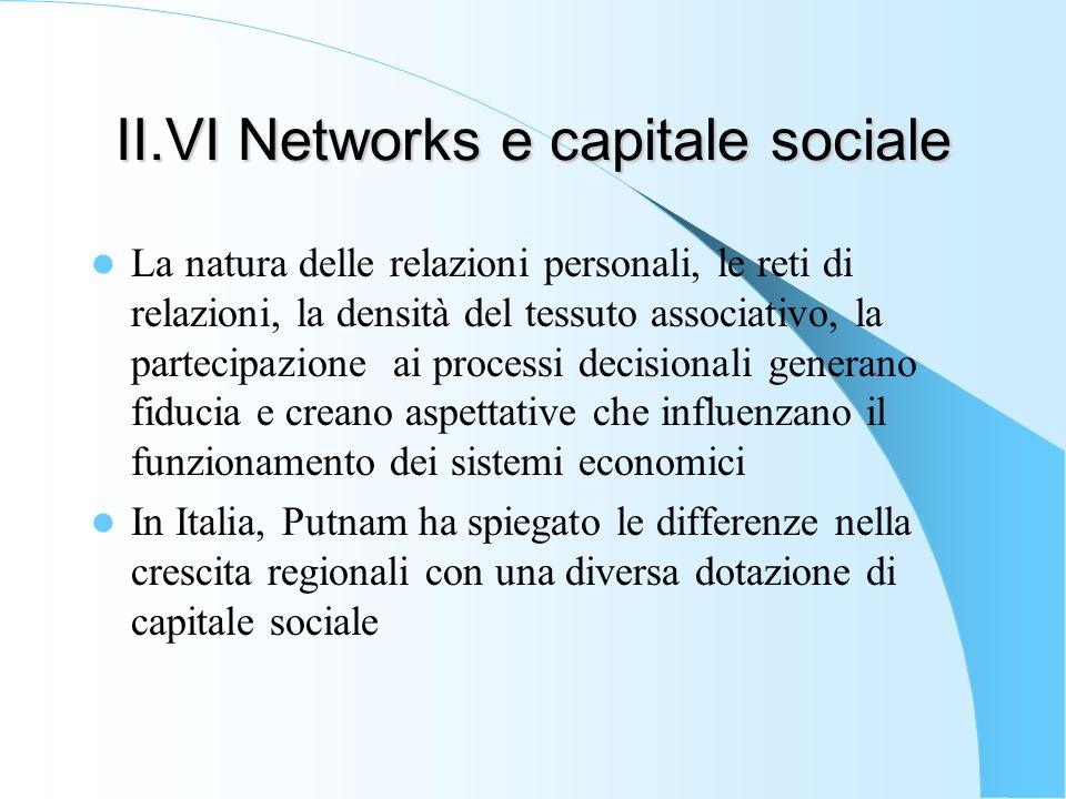 II.VI Networks e capitale sociale La natura delle relazioni personali, le reti di relazioni, la densità del tessuto associativo, la partecipazione ai