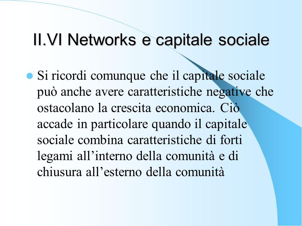 II.VI Networks e capitale sociale Si ricordi comunque che il capitale sociale può anche avere caratteristiche negative che ostacolano la crescita econ