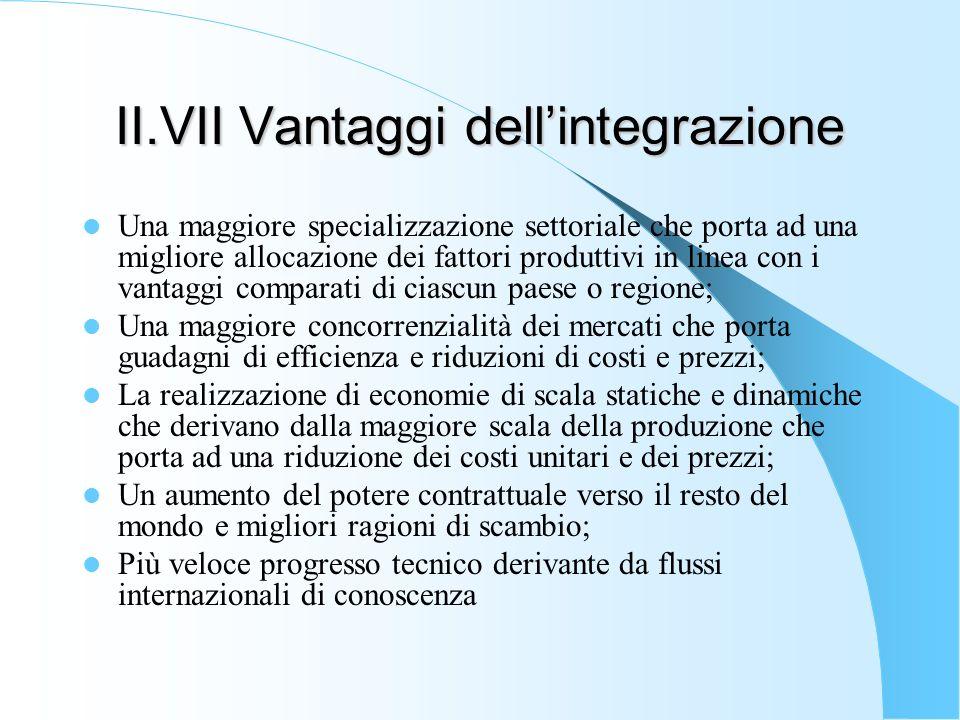 II.VII Vantaggi dellintegrazione Una maggiore specializzazione settoriale che porta ad una migliore allocazione dei fattori produttivi in linea con i