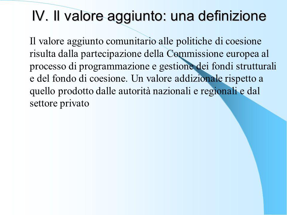 IV. Il valore aggiunto: una definizione Il valore aggiunto comunitario alle politiche di coesione risulta dalla partecipazione della Commissione europ