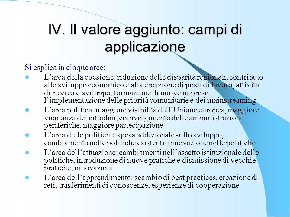 IV. Il valore aggiunto: campi di applicazione Si esplica in cinque aree: Larea della coesione: riduzione delle disparità regionali, contributo allo sv
