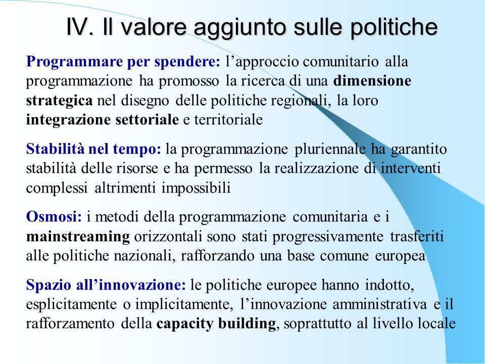 IV. Il valore aggiunto sulle politiche Programmare per spendere: lapproccio comunitario alla programmazione ha promosso la ricerca di una dimensione s