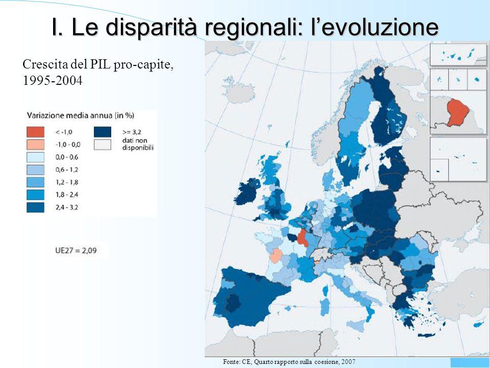 I. Le disparità regionali: levoluzione Crescita del PIL pro-capite, 1995-2004 Fonte: CE, Quarto rapporto sulla coesione, 2007