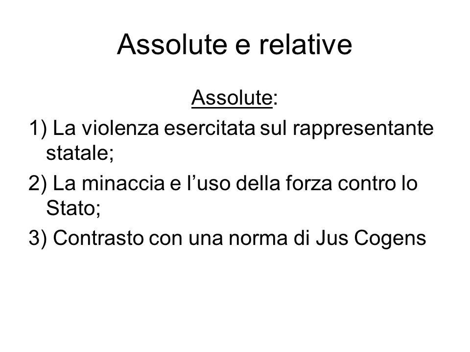 Assolute e relative Assolute: 1) La violenza esercitata sul rappresentante statale; 2) La minaccia e luso della forza contro lo Stato; 3) Contrasto con una norma di Jus Cogens