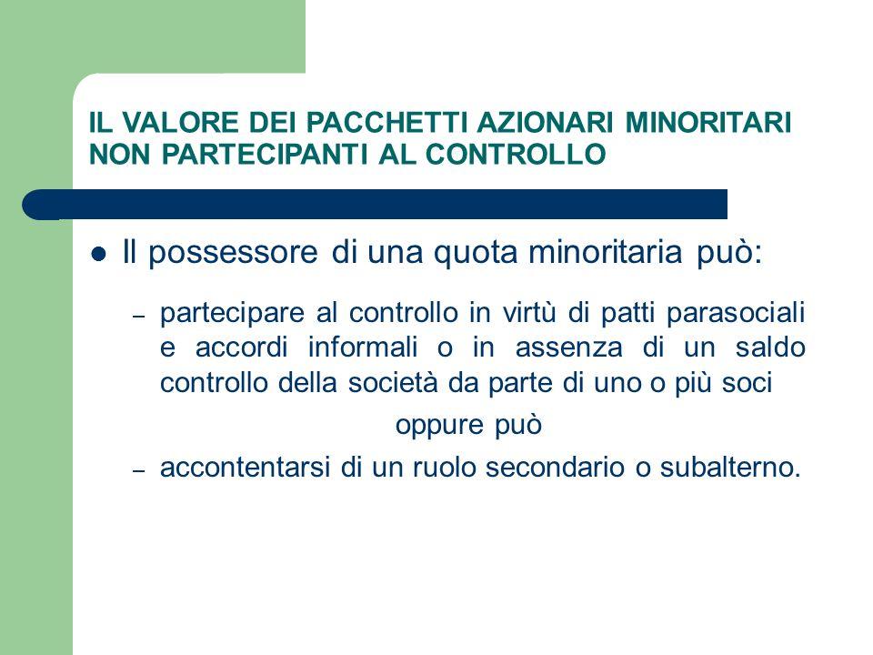 IL VALORE DEI PACCHETTI AZIONARI MINORITARI NON PARTECIPANTI AL CONTROLLO Il possessore di una quota minoritaria può: – partecipare al controllo in vi