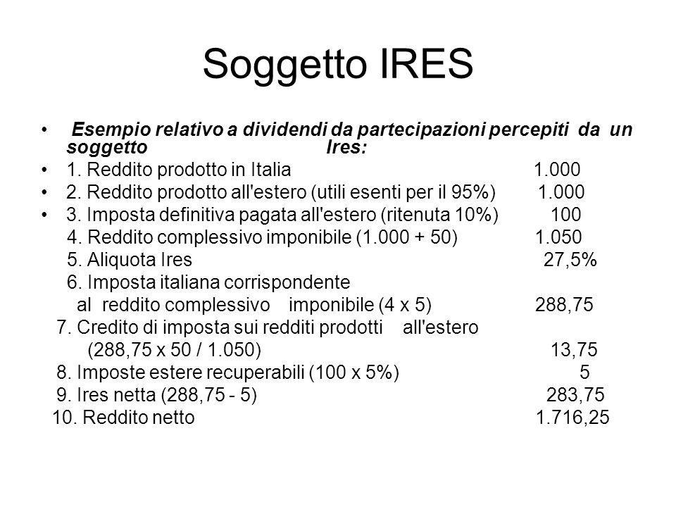 Soggetto IRES Esempio relativo a dividendi da partecipazioni percepiti da un soggetto Ires: 1. Reddito prodotto in Italia 1.000 2. Reddito prodotto al