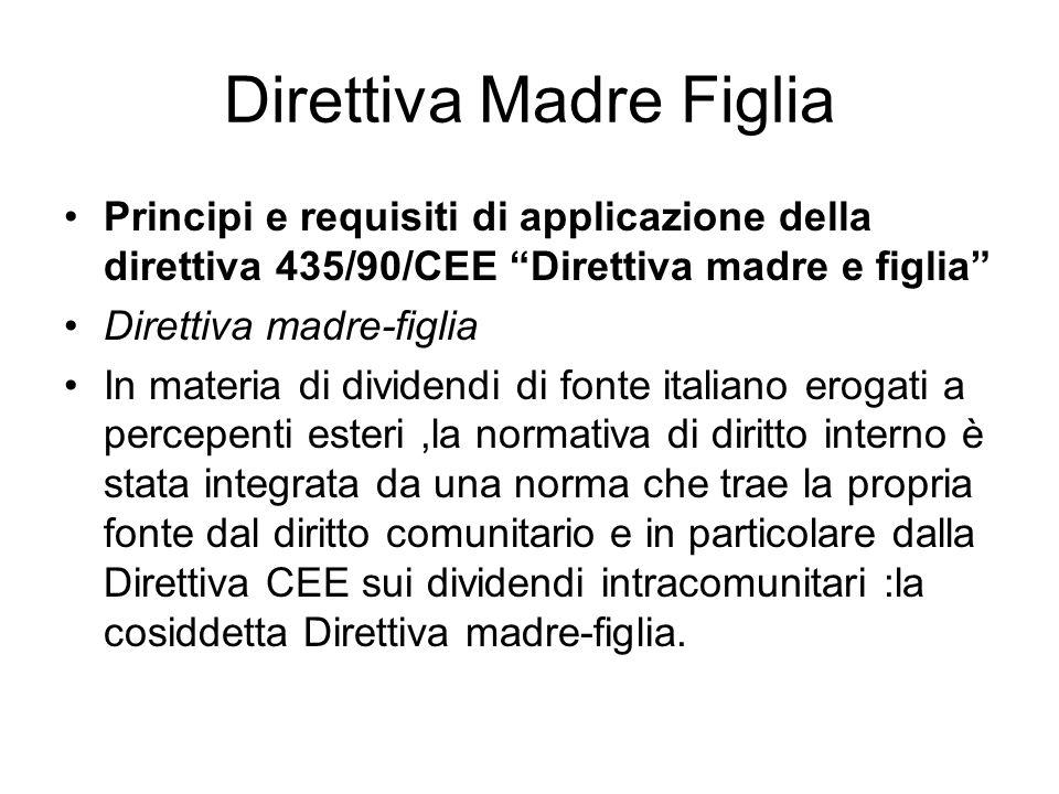 Direttiva Madre Figlia Principi e requisiti di applicazione della direttiva 435/90/CEE Direttiva madre e figlia Direttiva madre-figlia In materia di d