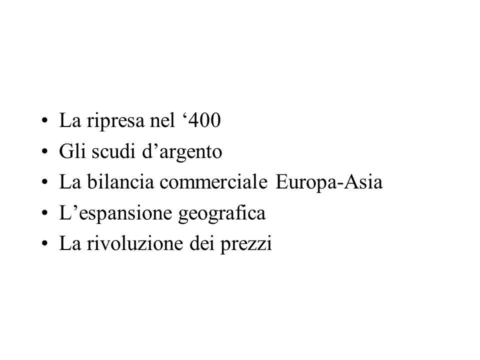 La ripresa nel 400 Gli scudi dargento La bilancia commerciale Europa-Asia Lespansione geografica La rivoluzione dei prezzi