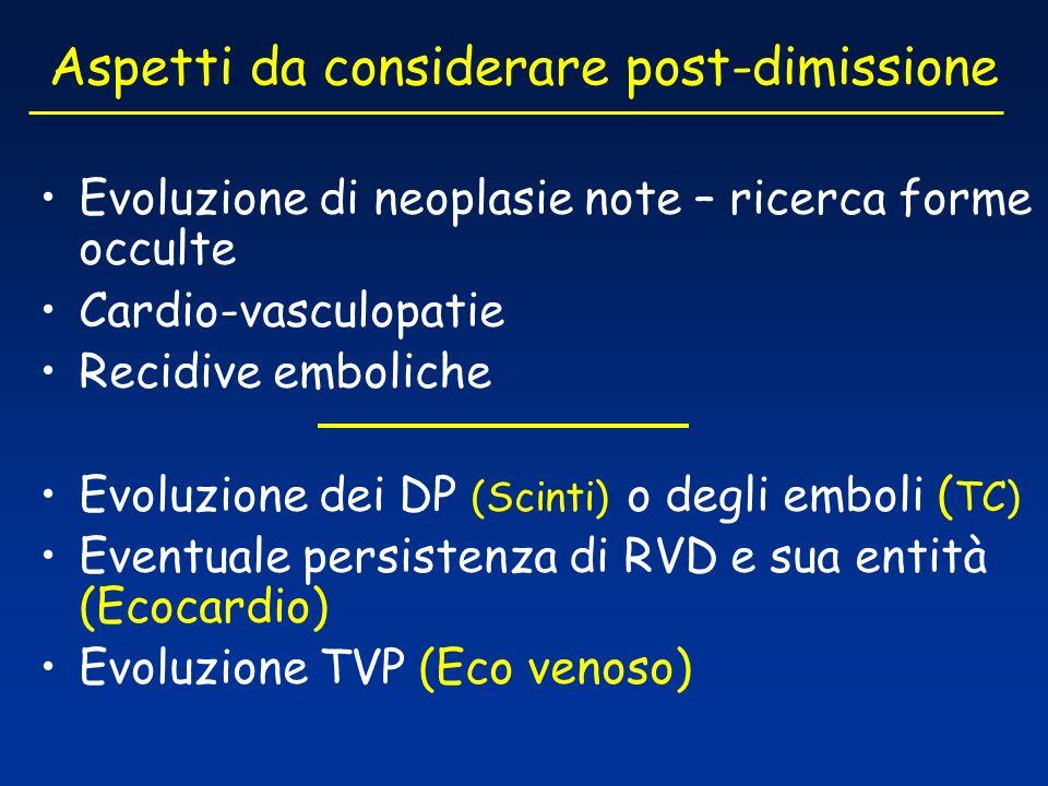 Aspetti da considerare post-dimissione Evoluzione di neoplasie note – ricerca forme occulte Cardio-vasculopatie Recidive emboliche Evoluzione dei DP (