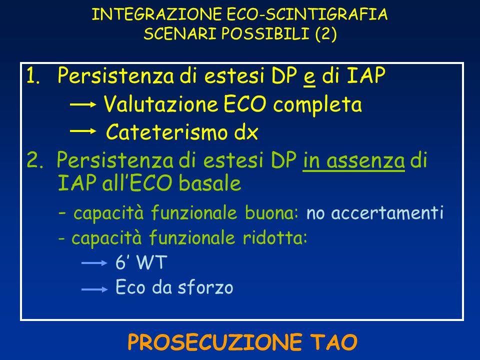 INTEGRAZIONE ECO-SCINTIGRAFIA SCENARI POSSIBILI (2) 1.Persistenza di estesi DP e di IAP Valutazione ECO completa Cateterismo dx 2. Persistenza di este