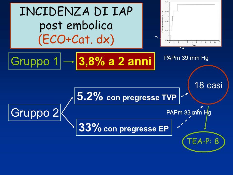 INCIDENZA DI IAP post embolica (ECO+Cat. dx) Gruppo 1 Gruppo 2 3,8% a 2 anni 5.2% con pregresse TVP 33% con pregresse EP TEA-P: 8 18 casi PAPm 39 mm H