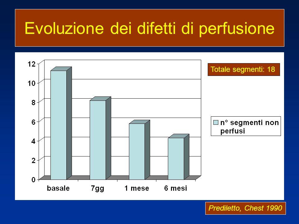 Evoluzione dei difetti di perfusione Prediletto, Chest 1990 Totale segmenti: 18