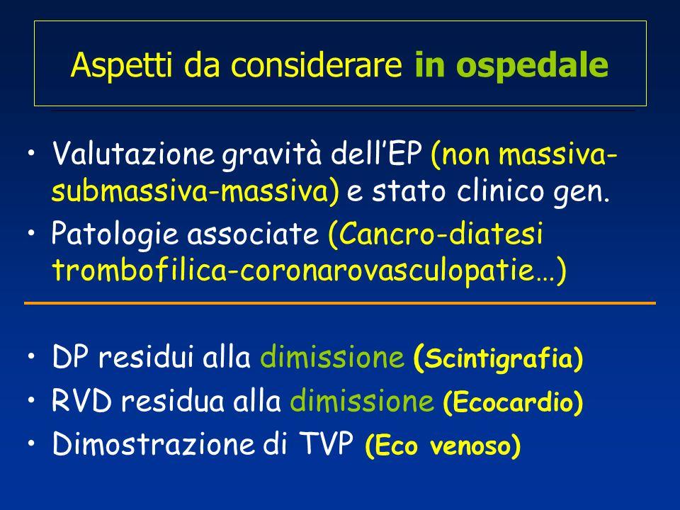 Aspetti da considerare in ospedale Valutazione gravità dellEP (non massiva- submassiva-massiva) e stato clinico gen. Patologie associate (Cancro-diate