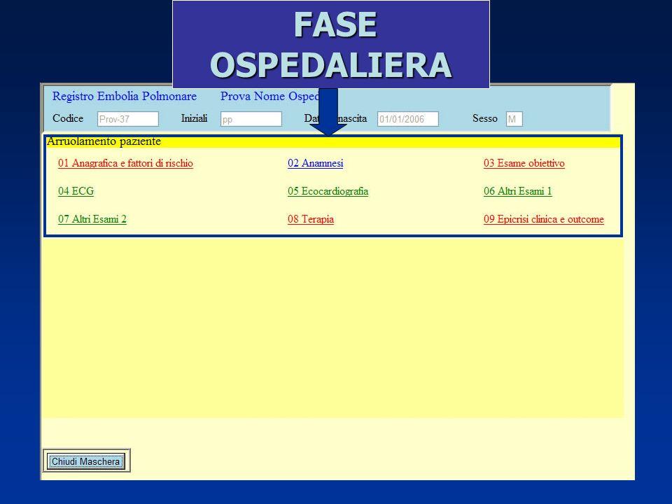 FASE OSPEDALIERA FASE OSPEDALIERA