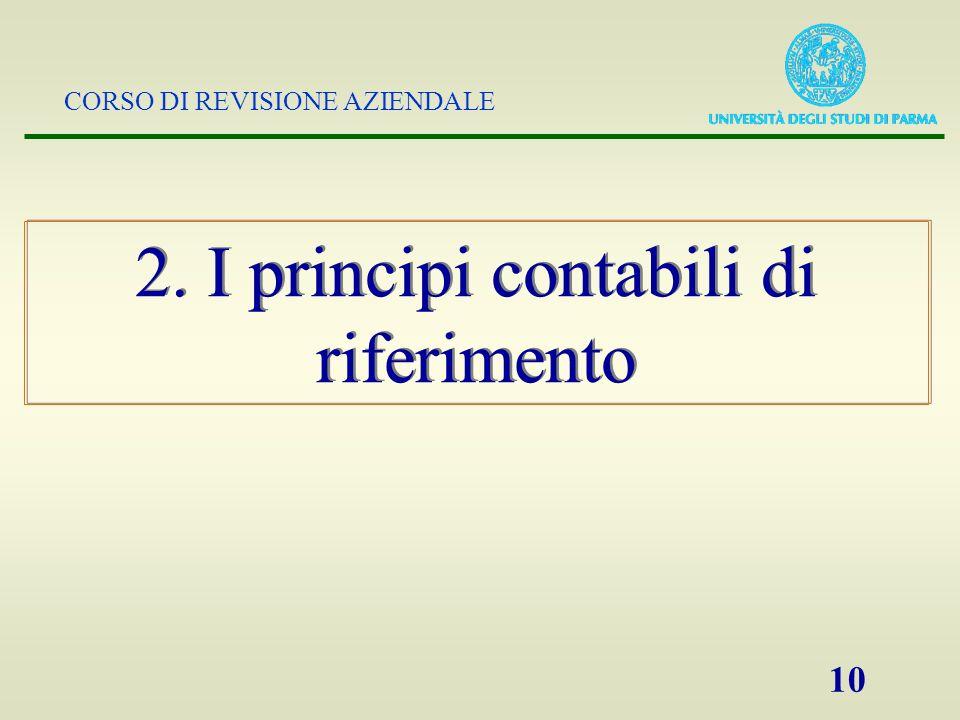 CORSO DI REVISIONE AZIENDALE 10 2. I principi contabili di riferimento