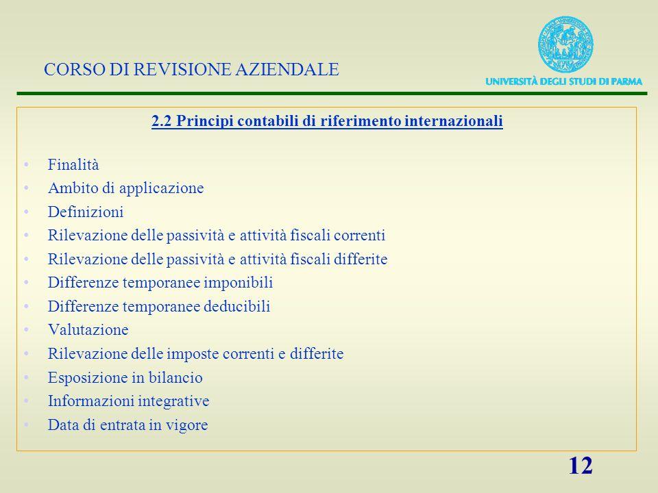 CORSO DI REVISIONE AZIENDALE 12 2.2 Principi contabili di riferimento internazionali Finalità Ambito di applicazione Definizioni Rilevazione delle pas