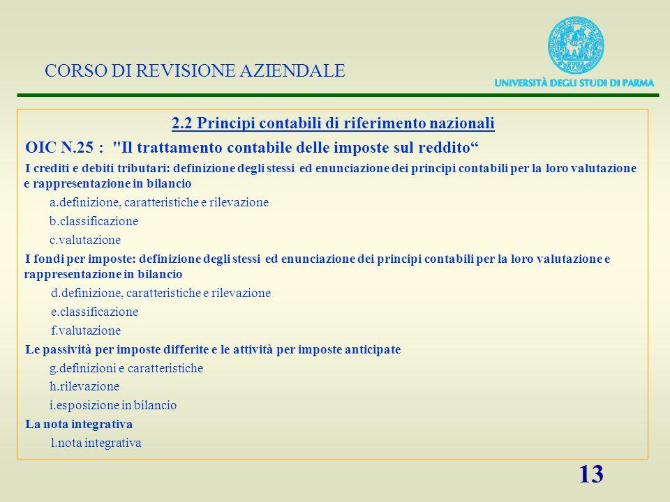 CORSO DI REVISIONE AZIENDALE 13 2.2 Principi contabili di riferimento nazionali OIC N.25 :