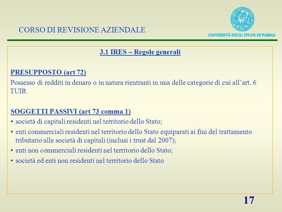 CORSO DI REVISIONE AZIENDALE 18 3.1 IRES – Regole generali (2) Concetto di residenza (art.