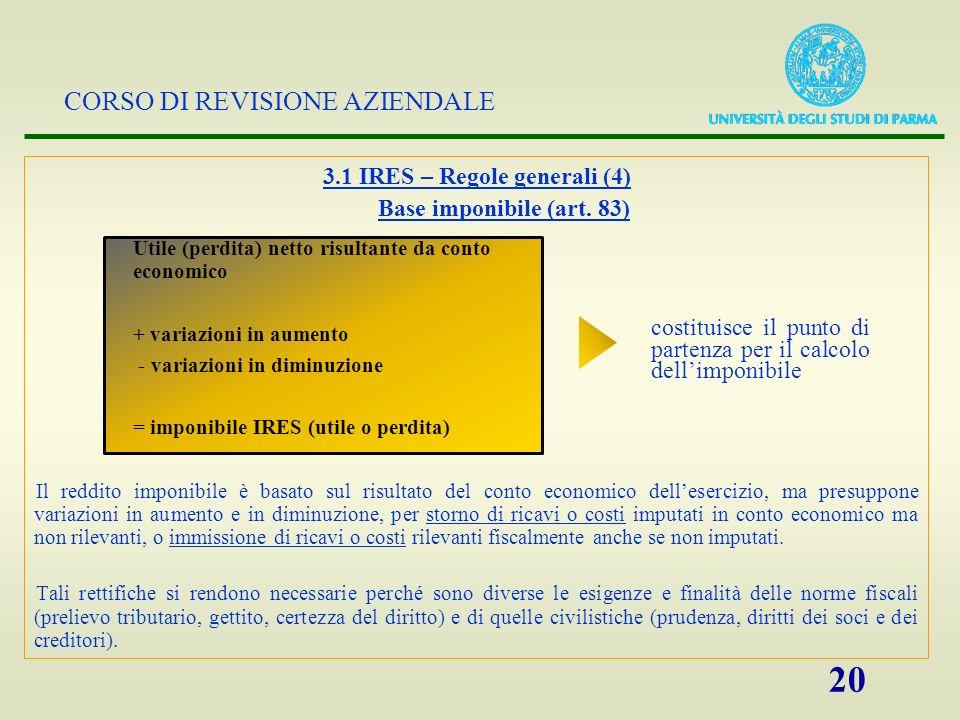 CORSO DI REVISIONE AZIENDALE 20 3.1 IRES – Regole generali (4) Base imponibile (art. 83) Il reddito imponibile è basato sul risultato del conto econom
