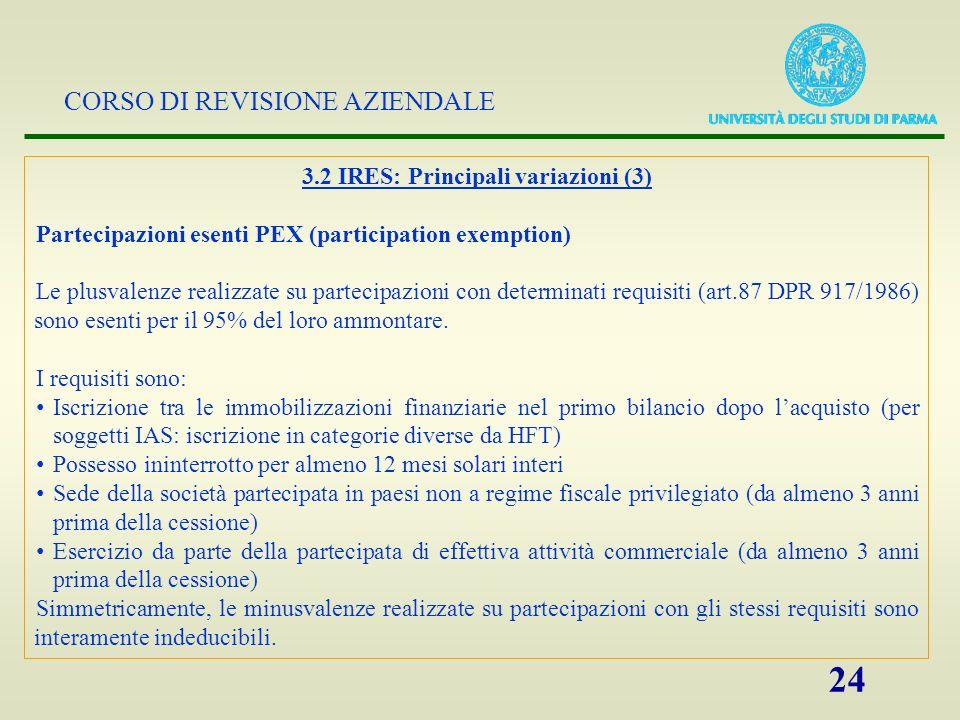 CORSO DI REVISIONE AZIENDALE 24 3.2 IRES: Principali variazioni (3) Partecipazioni esenti PEX (participation exemption) Le plusvalenze realizzate su p