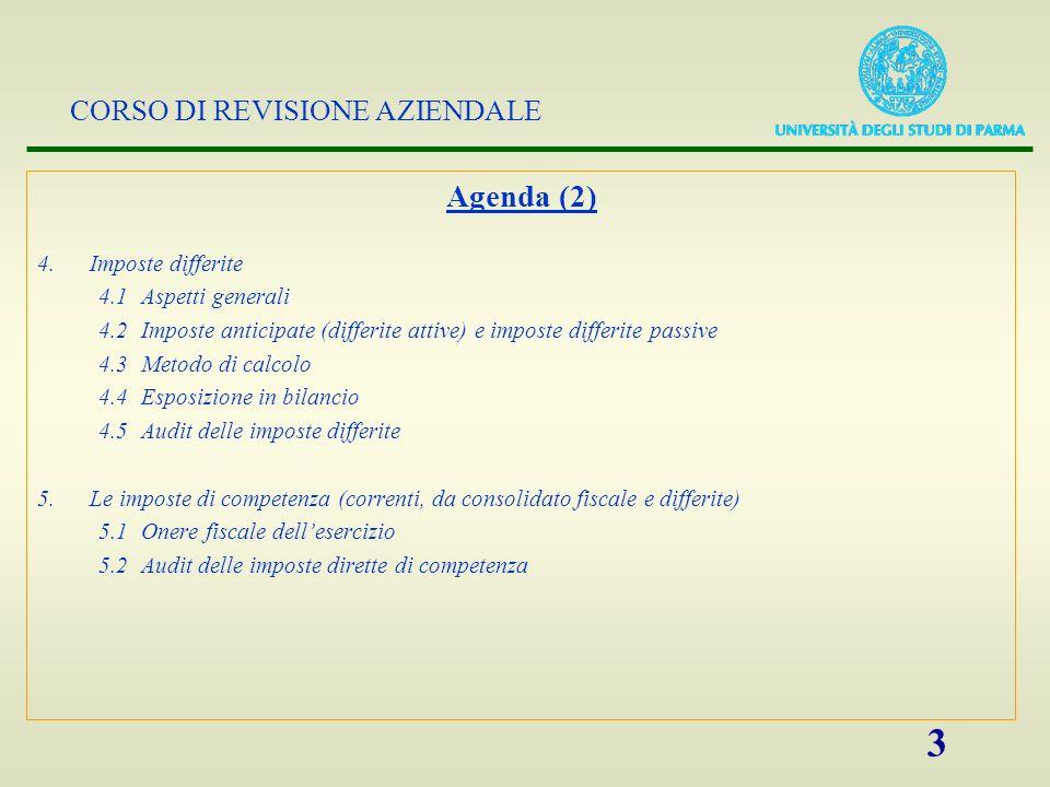CORSO DI REVISIONE AZIENDALE 3 Agenda (2) 4.Imposte differite 4.1 Aspetti generali 4.2 Imposte anticipate (differite attive) e imposte differite passi