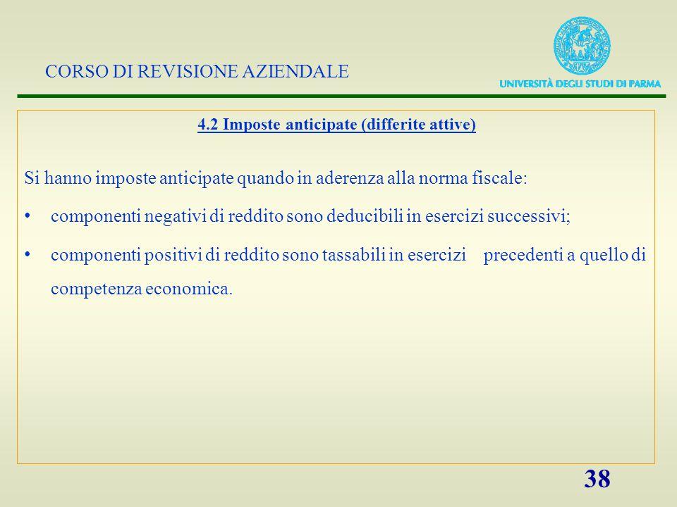 CORSO DI REVISIONE AZIENDALE 38 4.2 Imposte anticipate (differite attive) Si hanno imposte anticipate quando in aderenza alla norma fiscale: component