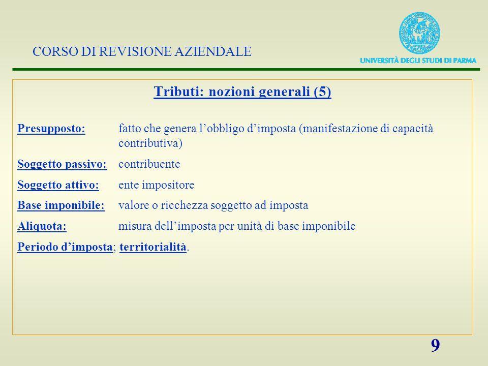 CORSO DI REVISIONE AZIENDALE 9 Tributi: nozioni generali (5) Presupposto:fatto che genera lobbligo dimposta (manifestazione di capacità contributiva)