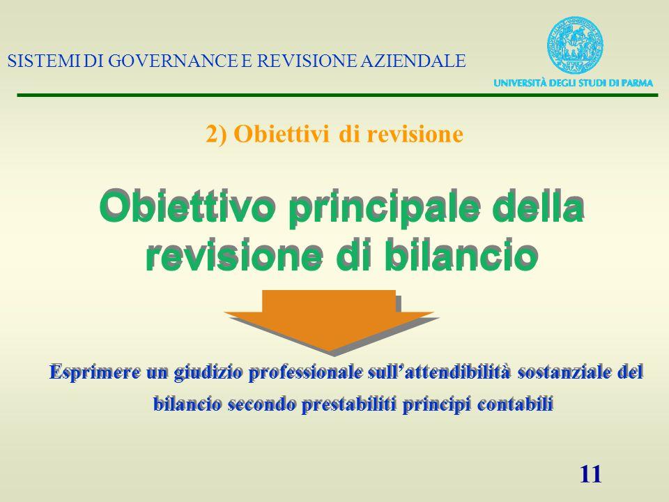 SISTEMI DI GOVERNANCE E REVISIONE AZIENDALE 11 2) Obiettivi di revisione Esprimere un giudizio professionale sullattendibilità sostanziale del bilanci